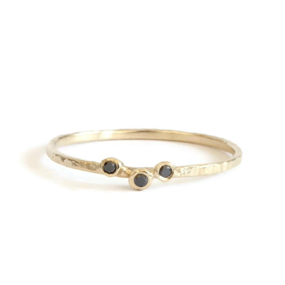 Black Diamond Hammered Ring
