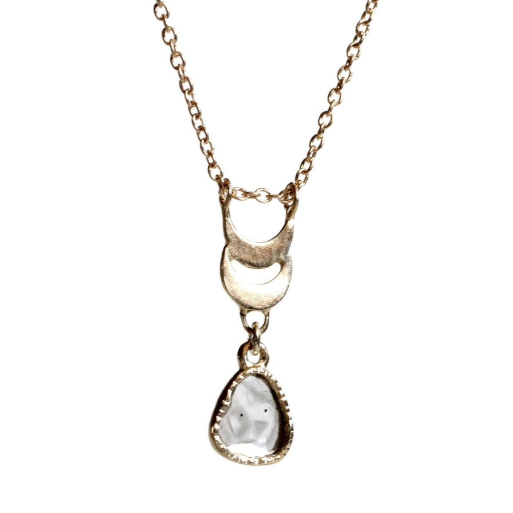 Twin Moon Diamond Slice Necklace -Gray Lake