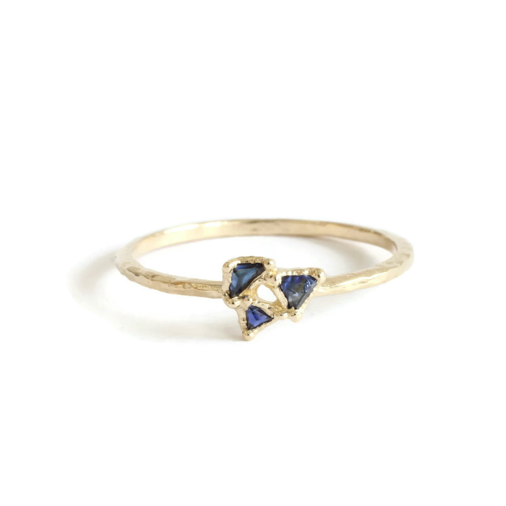 Triangle Sapphire Cluster Ring -Limited Edition