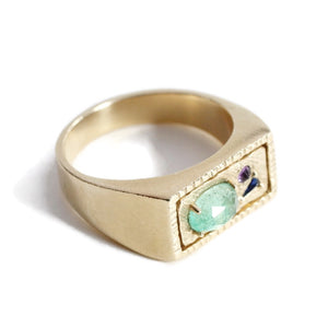 Collage Signet Ring (Small) -Green