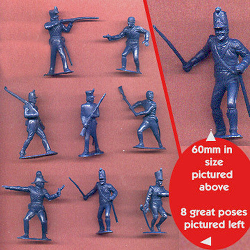 MARX Toy Soldiers 8 ALAMO Mexicans of the 1840s - Reissued Blue Mexican Army Figures