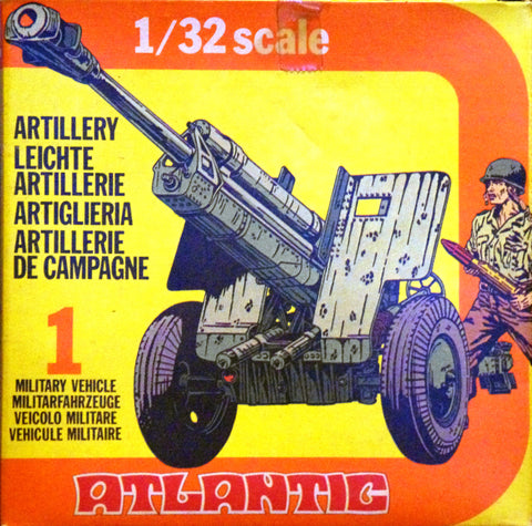 ATLANTIC WWII Field Artillery with Crew, Mortar & Operators, Machine Gun & Gunner in 1/32 Scale MINT in the BOX SET #2152