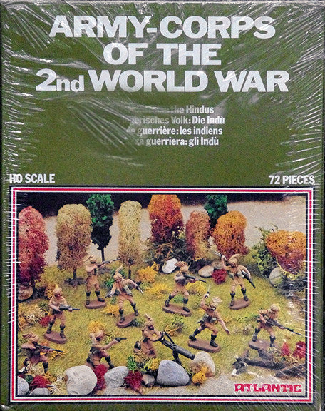 ATLANTIC WWII ARMY CORPS OF THE 2nd WORLD WAR - SOLDIERS OF INDIA ARMY SET with 72 Pieces in 1/72 Scale