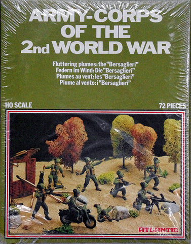 ATLANTIC WWII ARMY CORPS OF THE 2nd WORLD WAR - BERSAGLIERI ITALIAN ARMY SET 72 Pieces in 1/72 Scale (Contents Mint - Box Fair)