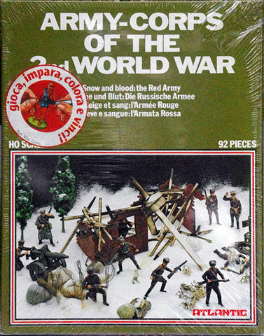 ATLANTIC WWII ARMY CORPS OF THE 2nd WORLD WAR - RUSSIAN RED ARMY SET with 92 Pieces in 1/72 Scale