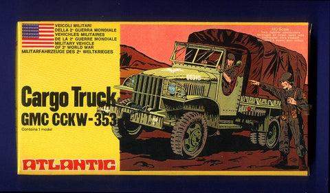ATLANTIC WWII US Army Cargo Truck GMC CCKW-353 1970s MINT Contents (NO BOX  99% Complete on Sprues) in 1/72 - HO Scale