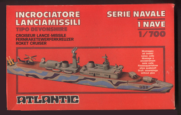ATLANTIC ROCKET CRUISER WITH MISSILES & HELECOPTER - Modern 1970s Era Battle Cruiser MIB in 1/700 - Scale