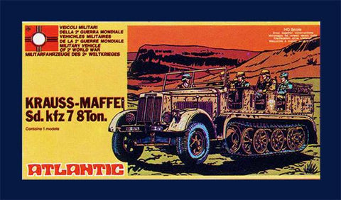 ATLANTIC #620 WWII German - Krauss-Maffei Sd.Kfz 7 8 ton Halftrack in 1/72 Model Kit, MIB,  Made in the 1970s
