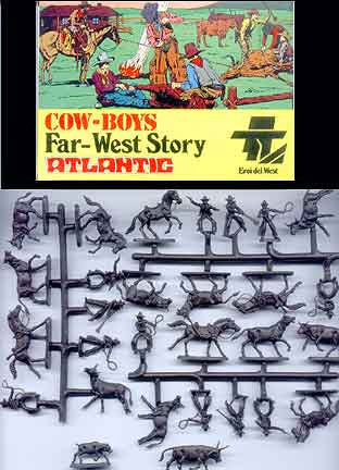 ATLANTIC Set 1115 COWBOYS 1/72 FAR WEST STORY SET 70s MIB