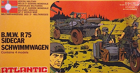 ATLANTIC - German WWII BMW R75 Motorcycle with Sidecar and Schwimmwagen 70s MINT Contents - Fair Box in 1/72 - HO Scale