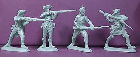 ATS Revolutionary War Americans In Gray 20 54mm Plastic Toy Soldiers