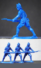 ATS REVOLUTIONARY WAR AMERICAN LIGHT INFANTRY In Continental Blue, 4 Plastic Toy Soldiers
