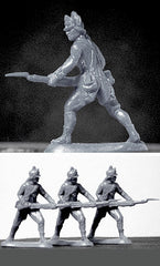 ATS REVOLUTIONARY WAR AMERICAN LIGHT INFANTRY In Gray, 4 Plastic Toy Soldiers