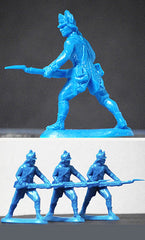 ATS REVOLUTIONARY WAR AMERICAN LIGHT INFANTRY In Light Blue, 4 Plastic Toy Soldiers