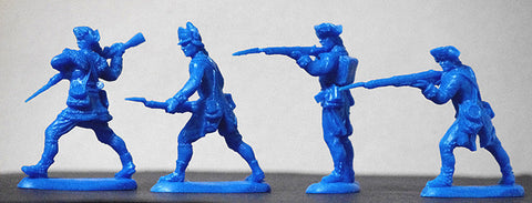 ATS REVOLUTIONARY WAR AMERICANS In Continental Blue 20 Plastic Toy Soldiers