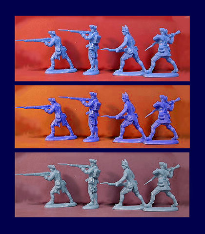 ATS REVOLUTIONARY WAR AMERICANS 20 Plastic Toy Soldiers in a mixed color selection of 3 colors - Continental Blue, Gray & Light Blue!