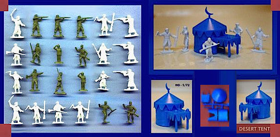 MARX Arab Warriors & French Foreign Legion with Tent- Reissued in 30mm - 24 Plastic Toy Soldiers & 1 Tent