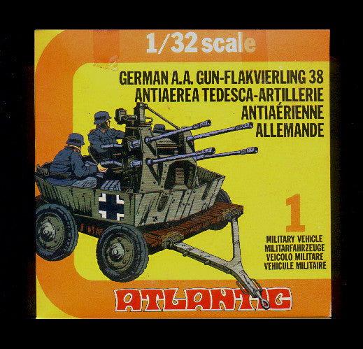 ATLANTIC WWII German A.A. Flack Gun in 1/32 Scale MINT in the BOX SET #2160
