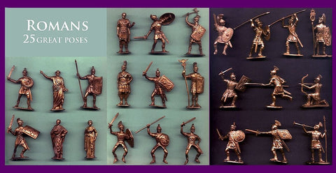 Reamsa & Jecsan Romans 25 different poses - 25 Bronze Color Plastic Toy Soldiers