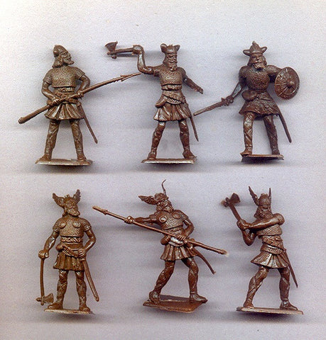 CHERILEA VIKINGS in Brown Color Plastic - 60mm - 10 Plastic Toy Soldiers