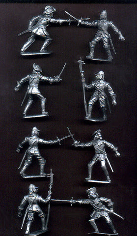 CHERILEA CAVALIERS & ROUNDHEADS - 60mm - 8 Silver Plastic Toy Soldiers