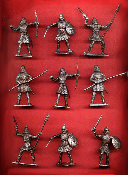 CHERILEA MEDIEVAL SAXONS, Five fighting poses in Pewter color plastic, 9 Plastic Toy Soldiers Per Set