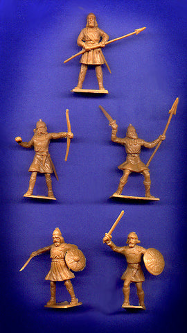 CHERILEA MEDIEVAL SAXONS, Five fighting poses in Tan color plastic, 18 Plastic Toy Soldiers Per Set