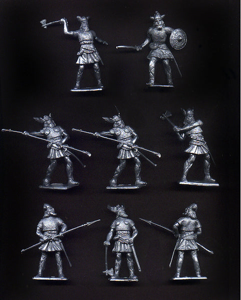 CHERILEA MEDIEVAL VIKINGS, Six fighting poses in Silver color plastic, 18 Plastic Toy Soldiers Per Set