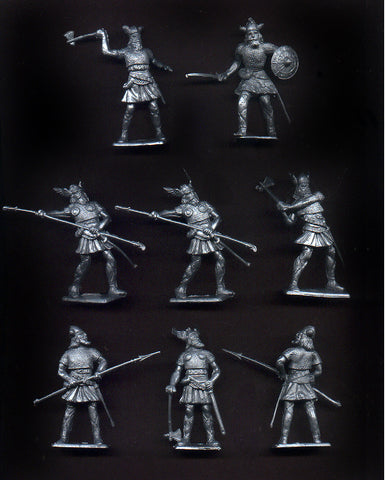 CHERILEA  VIKINGS in Silver Color Plastic - 60mm - 10 Plastic Toy Soldiers