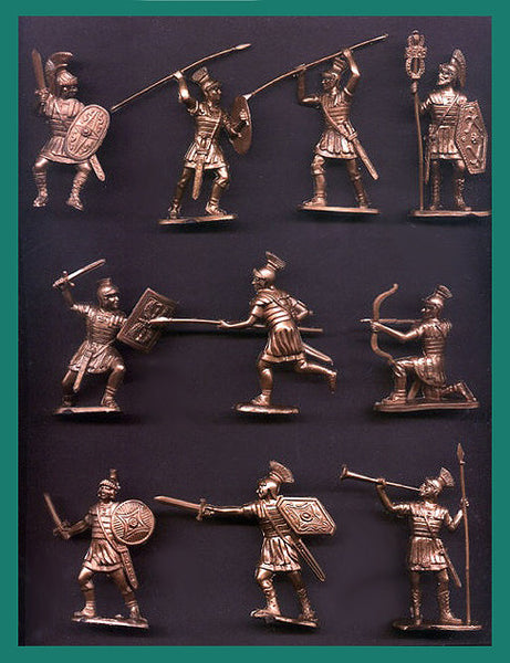 Reamsa Roman Infantry, 10 Toy Soldiers in Bronze Plastic 60mm