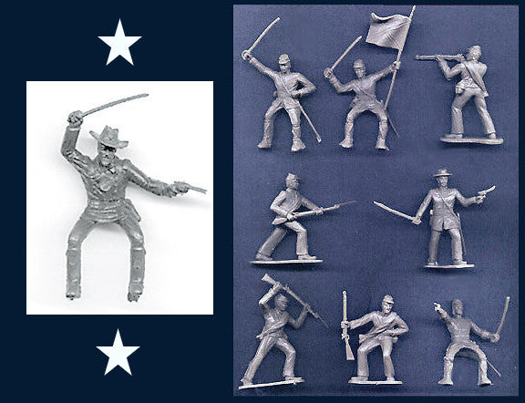 Reamsa 60mm CONFEDERATE CIVIL WAR SOLDIERS IN GRAY with GENERAL-  9 Great Poses!