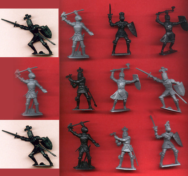 Cherilea KNIGHTS - 60mm - 12 GRAY & BLACK COLOR PLASTIC TOY SOLDIERS