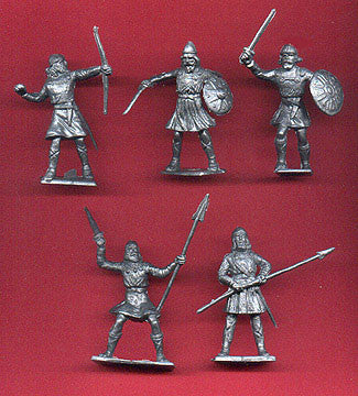 CHERILEA MEDIEVAL SAXONS, Five fighting poses in Silver color plastic, 18 Plastic Toy Soldiers Per Set