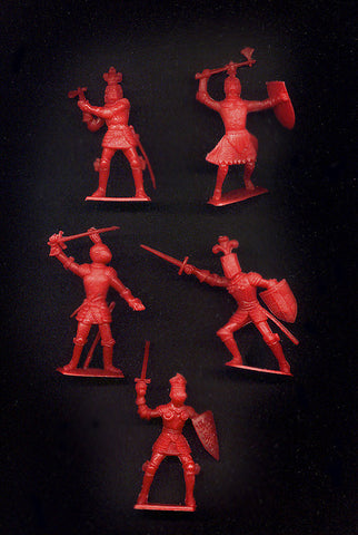 CHERILEA RED KNIGHTS - 60mm - 8 Red Plastic Toy Soldiers