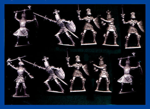 CHERILEA KNIGHTS - 60mm - 10 Pewter Color Plastic Knights in 5 battle poses
