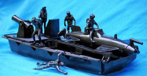 IDEAL Submarine Set with Frogmen and Boat - Black Color Plastic 60mm