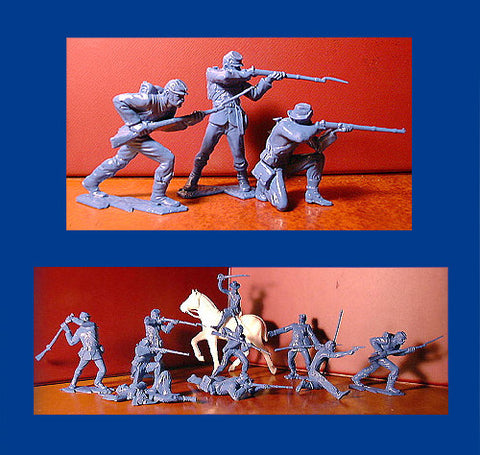 IDEAL ( Andy Guard ) Reissued Blue Civil War Plastic Toy Soldiers - 60mm - 10 poses in a 12 piece set.