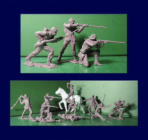 IDEAL Soft Plastic ( Andy Guard ) Reissued Gray Civil War Plastic Toy Soldiers - 60mm - 10 poses in a 12 piece set.