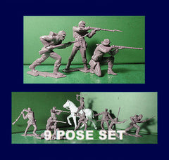 IDEAL ( Andy Guard ) Reissued Gray Civil War Plastic Toy Soldiers - 60mm - 9 poses in an 11 piece set
