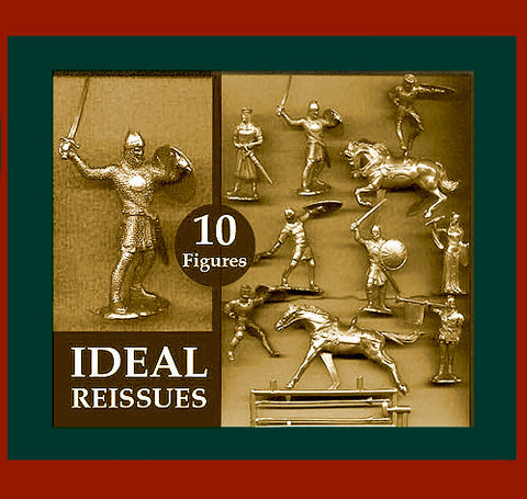 IDEAL Medieval Knights - Gold Color Plastic 60mm KNIGHTS PLAYSET 10 different pieces