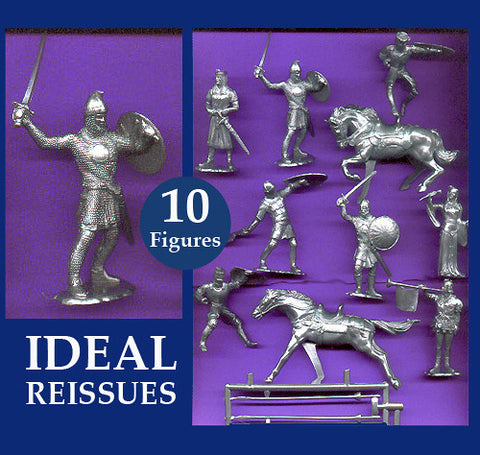 IDEAL Medieval Knights - Silver Color Plastic 60mm KNIGHTS PLAYSET 10 different pieces