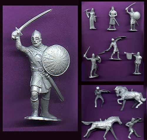 IDEAL Medieval Knights - Gray Color Plastic 60mm KNIGHTS PLAYSET 10 different pieces