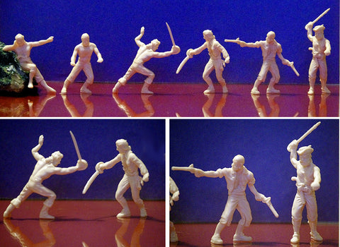 IDEAL Pirate Figures in 54mm - 12 Soft Plastic Figures - 6 Great action poses - Cream Color