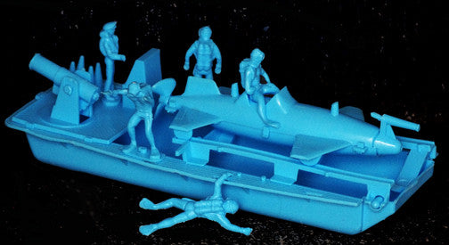 IDEAL Submarine Set with Frogmen and Boat - Blue Color Plastic 60mm