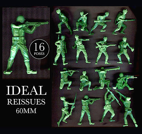 IDEAL Plastic ( Andy Guard ) Reissued World War II Plastic Toy Soldiers - 60mm - 16 poses in a 17 piece set including Machine Gun.