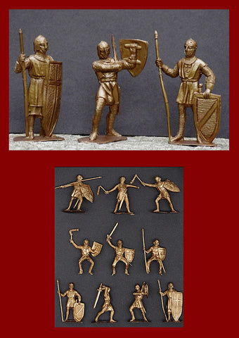 JECSAN CRUSADER KNIGHTS 10 Gold Color Plastic Toy Soldiers in 10 poses 60MM