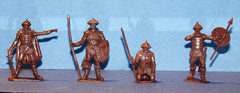 Jecsan Huns Expanded Pose Set with Atilla Figure a set of 6 Jecsan Toy Soldiers and 2 MARX Horses in Brown Plastic (60mm scale)