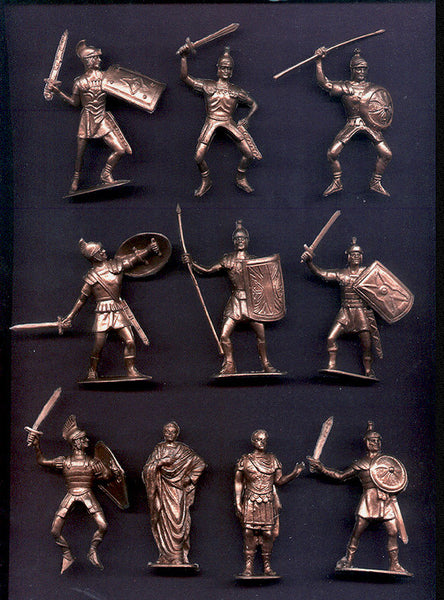 Jecsan Ancient Romans in Metallic Bronze Color Plastic 10 Toy Soldiers
