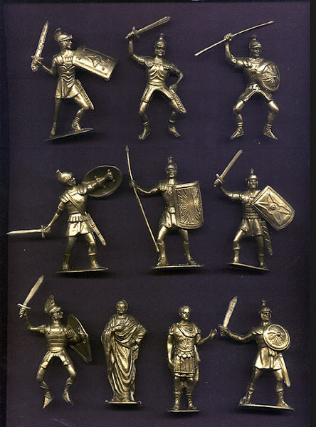 Jecsan Ancient Romans in Limited Production Gold Color Plastic 10 Toy Soldiers