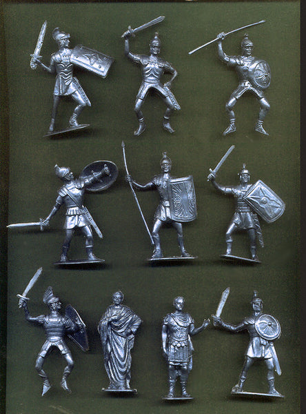 Jecsan Ancient Romans in Metallic Silver Color Plastic 10 Toy Soldiers